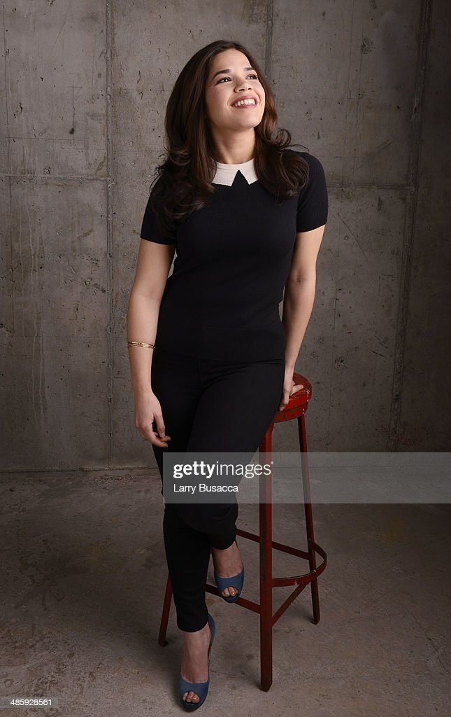 Actress <a gi-track='captionPersonalityLinkClicked' href=/galleries/search?phrase=America+Ferrera&family=editorial&specificpeople=216393 ng-click='$event.stopPropagation()'>America Ferrera</a> from 'X/Y' poses for the Tribeca Film Festival Getty Images Studio on April 21, 2014 in New York City.