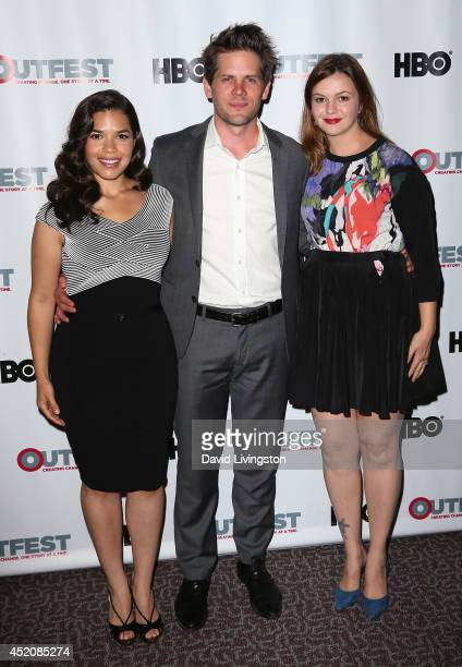 Actress America Ferrera husband actor/director Ryan Piers Williams and actress Amber Tamblyn attend the 2014 Outfest Los Angeles screening of 'X/Y'...