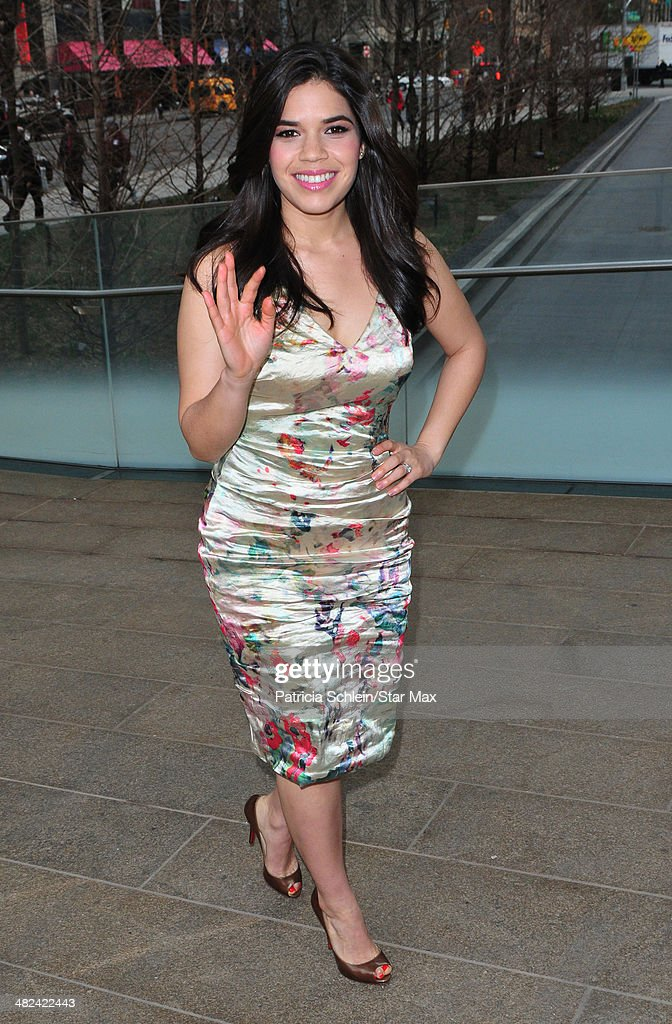 Actress <a gi-track='captionPersonalityLinkClicked' href=/galleries/search?phrase=America+Ferrera&family=editorial&specificpeople=216393 ng-click='$event.stopPropagation()'>America Ferrera</a> is seen on April 3, 2014 in New York City.