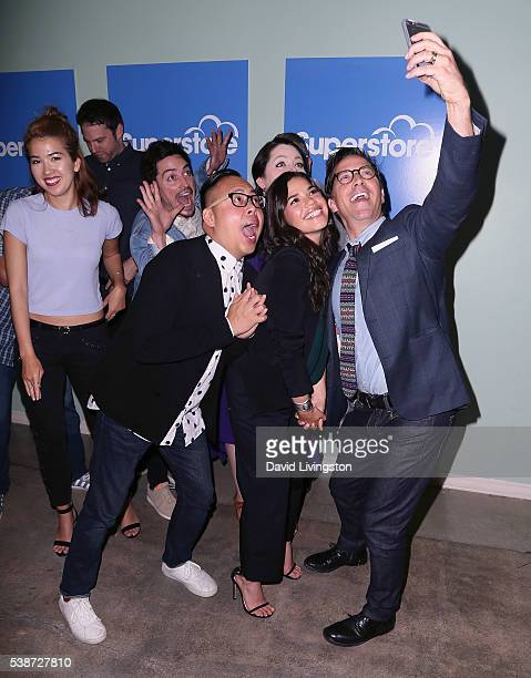 Actress America Ferrera other cast members show executives and actor Dan Bucatinsky attend FYC at UCB for NBC's 'Superstore' at UCB Sunset Theater on...