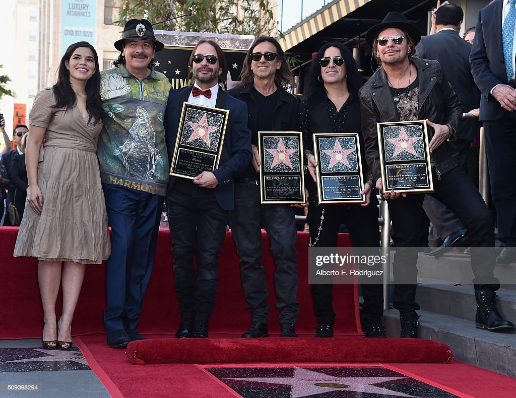Actress America Ferrera, recording artists Carlos Santana, Sergio Vallin, Juan Calleros, Alex Gonzalez and Fher Olvera attend a ceremony honoring Maná with the 2,573rd Star on the Hollywood Walk of Fame on February 10, 2016 in Hollywood, California.