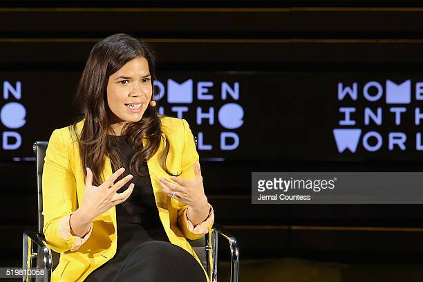 Actress America Ferrera speaks onstage at Women on the Run during Tina Brown's 7th Annual Women in the World Summit at David H Koch Theater at...