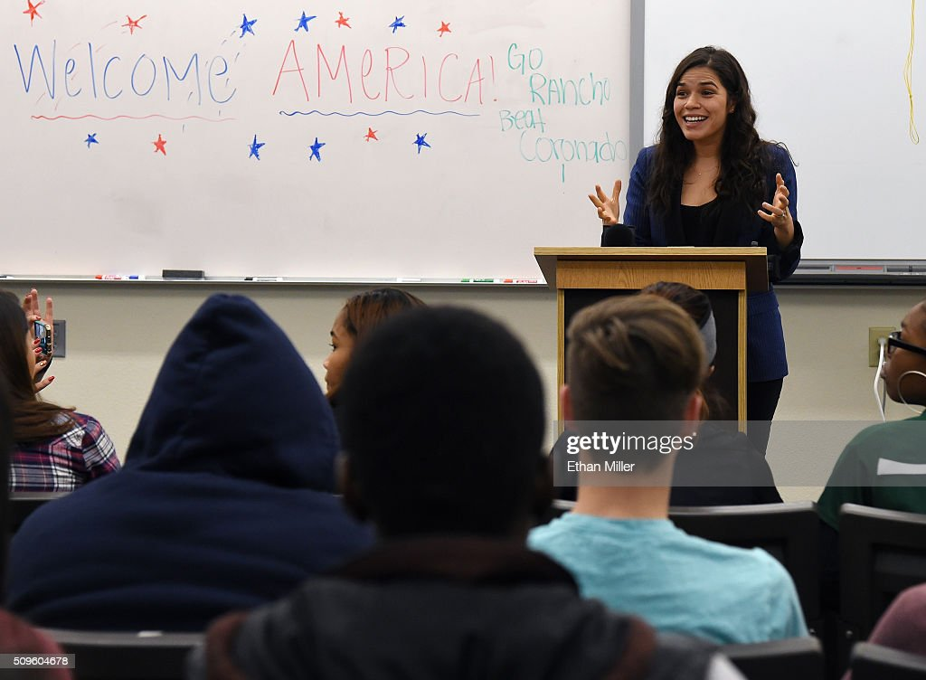 Actress <a gi-track='captionPersonalityLinkClicked' href=/galleries/search?phrase=America+Ferrera&family=editorial&specificpeople=216393 ng-click='$event.stopPropagation()'>America Ferrera</a> talks to students at Rancho High School as she partners with Voto Latino to discuss the importance of young voters, including Latinos, participating in the civic process on February 11, 2016 in North Las Vegas, Nevada. Nevada's caucus for the Democratic presidential candidate is on February 20 and the Republicans caucus on February 23.