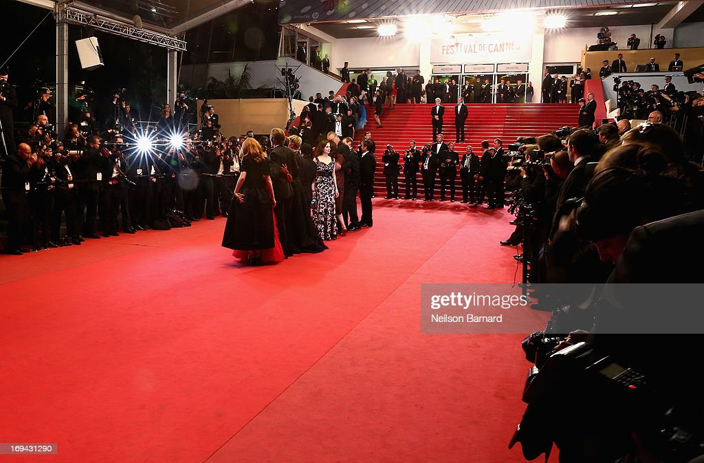 Actress Amira Casar (C) attends the 'Michael Kohlhaas' premiere during The 66th Annual Cannes Film Festival at the Palais des Festival on May 24, 2013 in Cannes, France.