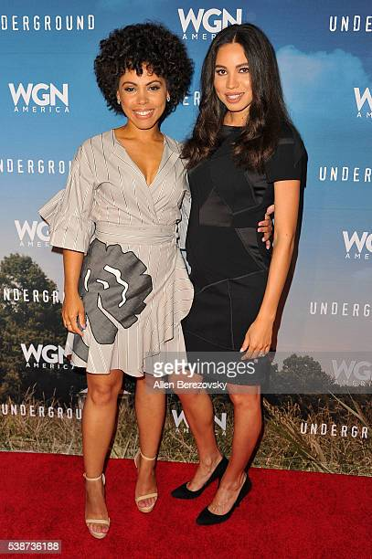 Actress Amirah Vann and actress Jurnee SmollettBell attend the screening and panel for WGN America's 'Underground' at Landmark Theatre on June 7 2016...