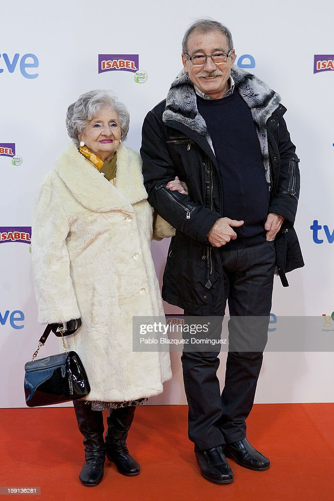 Actress Amparo Pacheco and actor Manolo Cal attend 'Cuentame Como Paso' 14th Season presentation at Capitol Cinema on January 8, 2013 in Madrid, Spain.