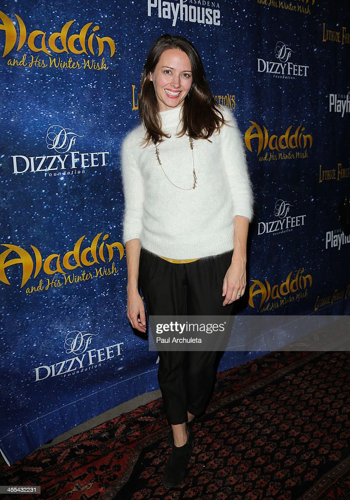 Actress <a gi-track='captionPersonalityLinkClicked' href=/galleries/search?phrase=Amy+Acker&family=editorial&specificpeople=715944 ng-click='$event.stopPropagation()'>Amy Acker</a> attends the opening night of 'Aladdin And His Winter Wish' at the Pasadena Playhouse on December 11, 2013 in Pasadena, California.