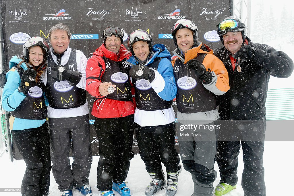 Actress Amy Acker, director/producer Bobby Farrelly, skier Steve Mahre, actor Mark Feuerstein, actor Chad Lowe and television personality Keith Colburn attend Day 2 of the Deer Valley Celebrity Skifest held at the Silver Lake Lodge on December 7, 2013 in Park City, Utah.