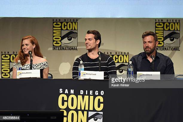 Actress Amy Adams actor Henry Cavill and actor Ben Affleck from 'Batman v Superman Dawn of Justice' attends the Warner Bros presentation during...
