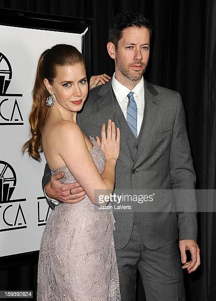 Actress Amy Adams and husband Darren Le Gallo attend the 38th annual Los Angeles Film Critics Association Awards at InterContinental Hotel on January...