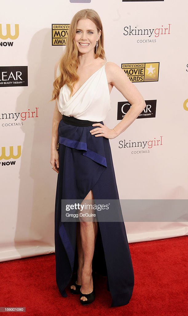 Actress Amy Adams arrives at the 18th Annual Critics' Choice Movie Awards at The Barker Hangar on January 10, 2013 in Santa Monica, California.