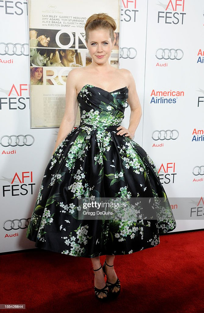 Actress <a gi-track='captionPersonalityLinkClicked' href=/galleries/search?phrase=Amy+Adams&family=editorial&specificpeople=213938 ng-click='$event.stopPropagation()'>Amy Adams</a> arrives at the gala screening of 'On The Road' during the 2012 AFI FEST at Grauman's Chinese Theatre on November 3, 2012 in Hollywood, California.
