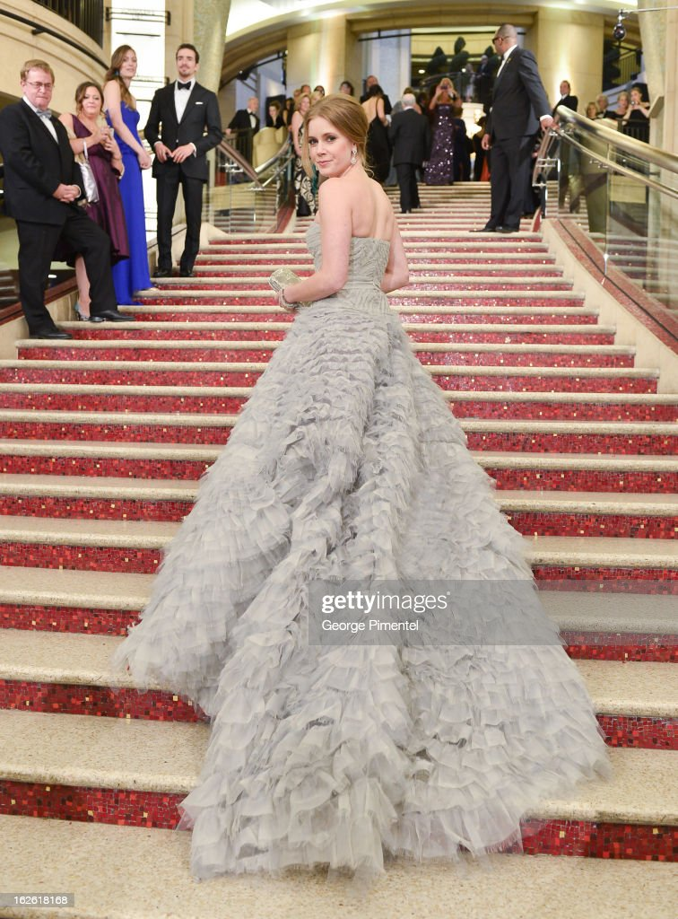 Actress Amy Adams arrives at the Oscars at Hollywood & Highland Center on February 24, 2013 in Hollywood, California. at Hollywood & Highland Center on February 24, 2013 in Hollywood, California.