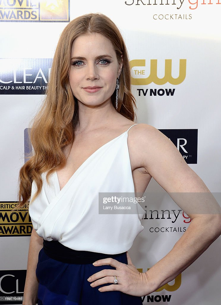 Actress <a gi-track='captionPersonalityLinkClicked' href=/galleries/search?phrase=Amy+Adams&family=editorial&specificpeople=213938 ng-click='$event.stopPropagation()'>Amy Adams</a> attends the 18th Annual Critics' Choice Movie Awards held at Barker Hangar on January 10, 2013 in Santa Monica, California.