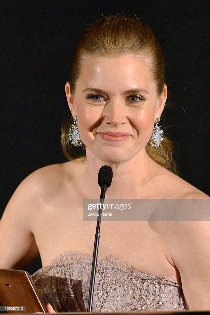 Actress <a gi-track='captionPersonalityLinkClicked' href=/galleries/search?phrase=Amy+Adams&family=editorial&specificpeople=213938 ng-click='$event.stopPropagation()'>Amy Adams</a> attends the 38th Annual Los Angeles Film Critics Association Awards - Show at InterContinental Hotel on January 12, 2013 in Century City, California.