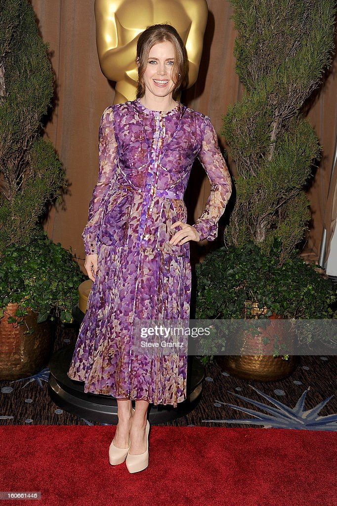 Actress <a gi-track='captionPersonalityLinkClicked' href=/galleries/search?phrase=Amy+Adams&family=editorial&specificpeople=213938 ng-click='$event.stopPropagation()'>Amy Adams</a> attends the 85th Academy Awards Nominees Luncheon at The Beverly Hilton Hotel on February 4, 2013 in Beverly Hills, California.