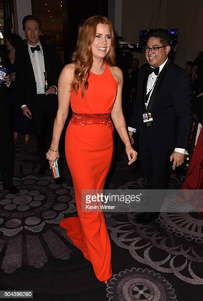 Actress Amy Adams attends the cocktail reception during the 73rd Annual Golden Globe Awards at The Beverly Hilton Hotel on January 10 2016 in Beverly...