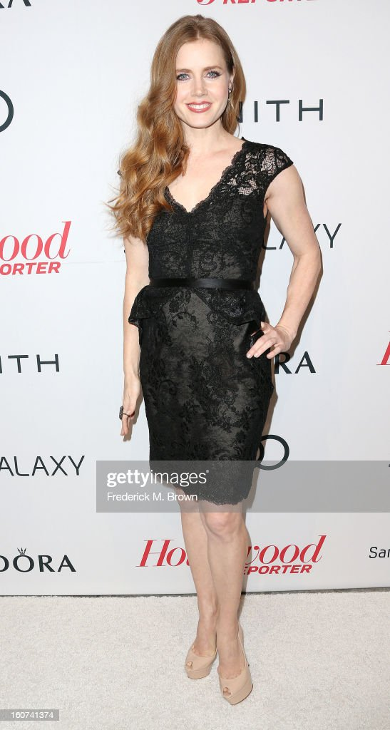 Actress <a gi-track='captionPersonalityLinkClicked' href=/galleries/search?phrase=Amy+Adams&family=editorial&specificpeople=213938 ng-click='$event.stopPropagation()'>Amy Adams</a> attends The Hollywood Reporter Nominees' Night 2013 Celebrating The 85th Annual Academy Award Nominees at Spago on February 4, 2013 in Beverly Hills, California.