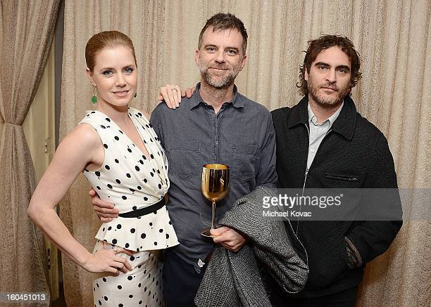 Actress Amy Adams director Paul Thomas Anderson and actor Joaquin Phoenix visit The Moet Chandon Lounge at The Santa Barbara International Film...