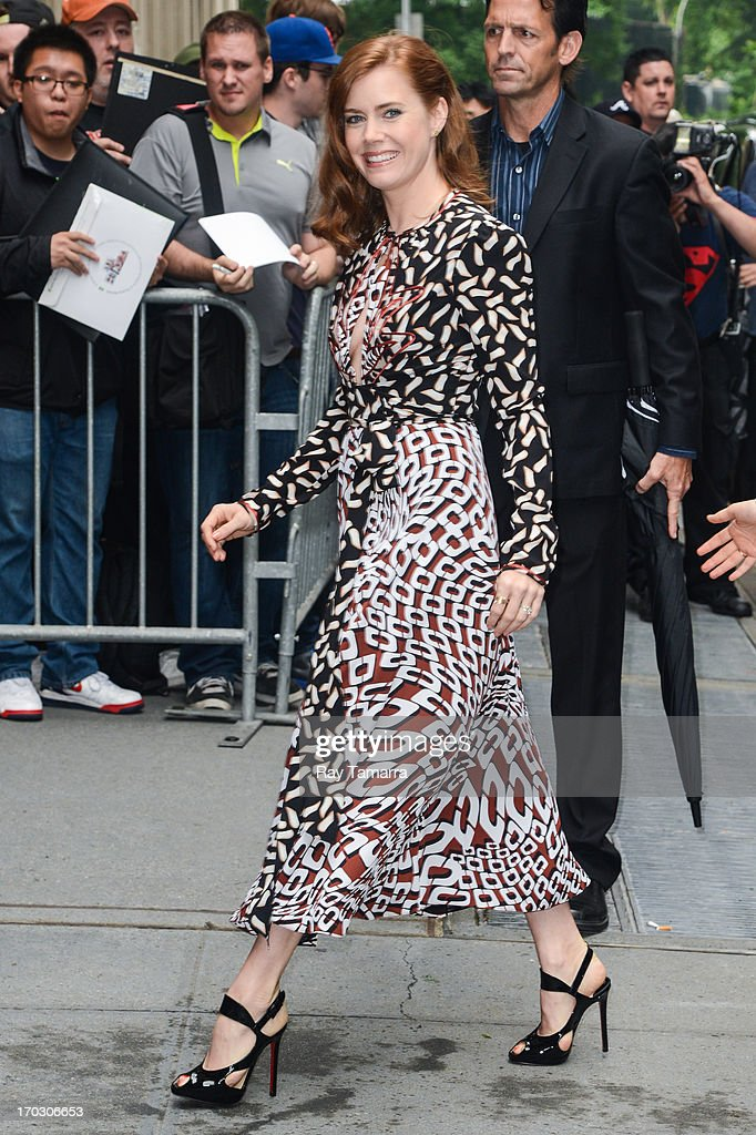 Actress <a gi-track='captionPersonalityLinkClicked' href=/galleries/search?phrase=Amy+Adams&family=editorial&specificpeople=213938 ng-click='$event.stopPropagation()'>Amy Adams</a> enters the 'Katie Couric Show' taping at the ABC Lincoln Center Studios on June 10, 2013 in New York City.
