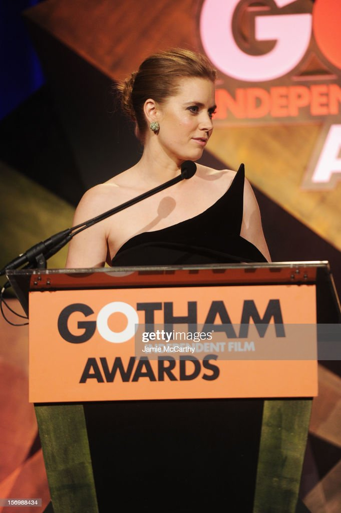 Actress <a gi-track='captionPersonalityLinkClicked' href=/galleries/search?phrase=Amy+Adams&family=editorial&specificpeople=213938 ng-click='$event.stopPropagation()'>Amy Adams</a> speaks onstage at the 22nd Annual Gotham Independent Film Awards at Cipriani Wall Street on November 26, 2012 in New York City.