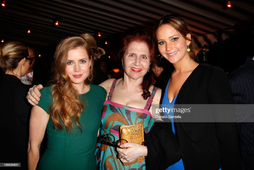 """Actress <a gi-track='captionPersonalityLinkClicked' href=/galleries/search?phrase=Amy+Adams&family=editorial&specificpeople=213938 ng-click='$event.stopPropagation()'>Amy Adams</a>, W Magazine Editor-at-Large <a gi-track='captionPersonalityLinkClicked' href=/galleries/search?phrase=Lynn+Hirschberg&family=editorial&specificpeople=2160005 ng-click='$event.stopPropagation()'>Lynn Hirschberg</a> and actress <a gi-track='captionPersonalityLinkClicked' href=/galleries/search?phrase=Jennifer+Lawrence&family=editorial&specificpeople=1596040 ng-click='$event.stopPropagation()'>Jennifer Lawrence</a> attend W Magazine's 'Best Performances Issue"""" and the Golden Globe Awards celebration with W Magazine, Cadillac and Dom Pérignon at Chateau Marmont on January 11, 2013 in Los Angeles, California."""