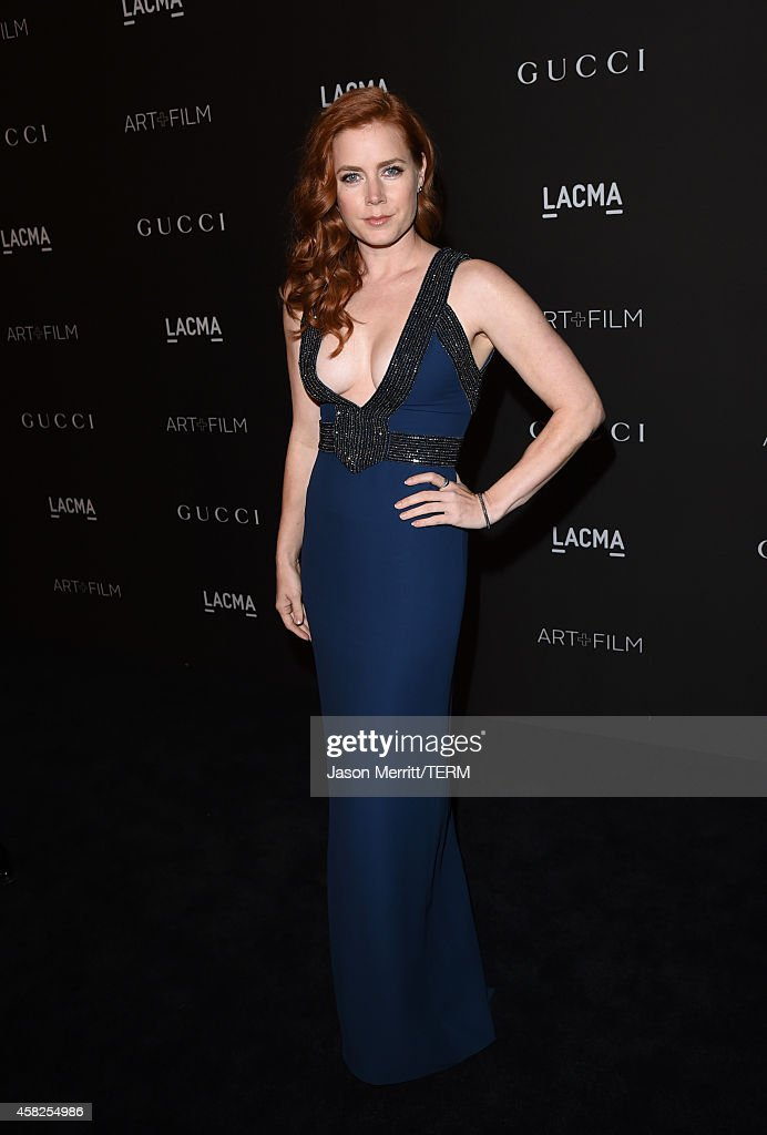Actress Amy Adams wearing Gucci attends the 2014 LACMA Art Film Gala honoring Barbara Kruger and Quentin Tarantino presented by Gucci at LACMA on...