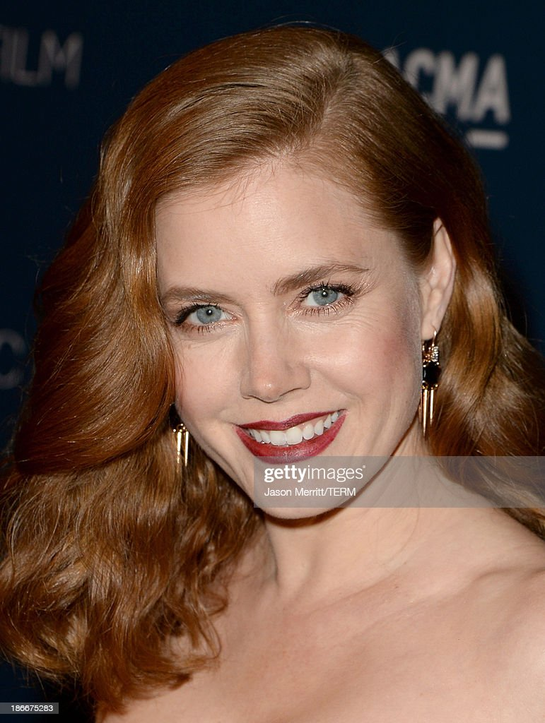Actress Amy Adams, wearing Gucci, attends the LACMA 2013 Art + Film Gala honoring Martin Scorsese and David Hockney presented by Gucci at LACMA on November 2, 2013 in Los Angeles, California.