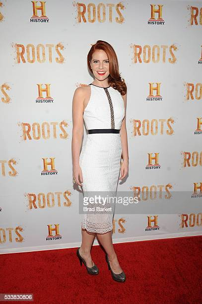 Actress Amy Halldin attends the premiere screening of 'Night One' of the four night epic event series 'Roots' hosted by HISTORY at Alice Tully Hall...