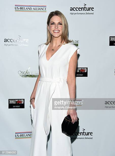 Actress Amy Huberman arrives at the 2016 Oscar Wilde Awards at Bad Robot on February 25 2016 in Santa Monica California
