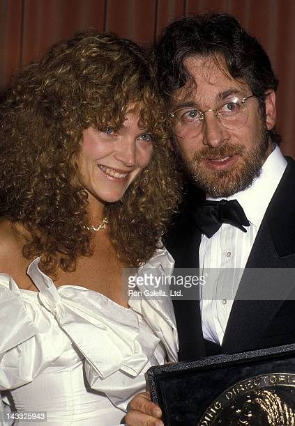 Actress Amy Irving and director Steven Spielberg attend the 38th Annual Directors Guild of America Awards on March 8 1986 at the Beverly Hilton Hotel...