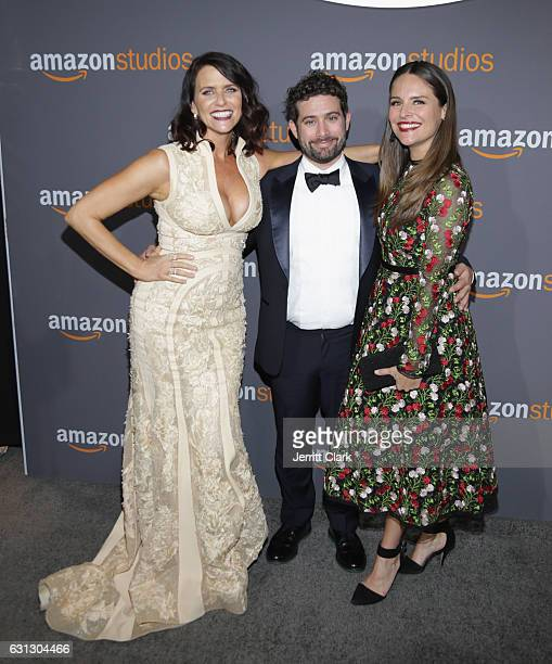 Actress Amy Landecker Amazon Head of Television Joe Lewis and actress Yara Martinez the Amazon Studios Golden Globes Party at The Beverly Hilton...
