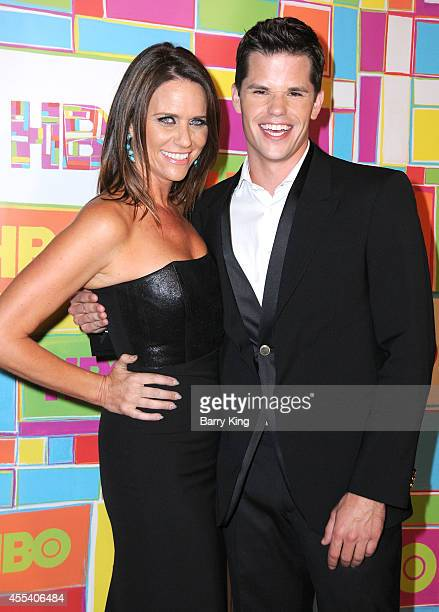 Actress Amy Landecker and actor Max Carver attend HBO's 2014 Emmy after party at The Plaza at the Pacific Design Center on August 25 2014 in Los...