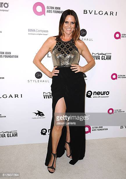 Actress Amy Landecker attends the 24th annual Elton John AIDS Foundation's Oscar viewing party on February 28 2016 in West Hollywood California