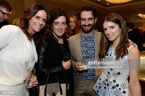 Actress Amy Landecker guest filmmaker Jay Duplass and actress Anna Kendrick attend the BAFTA Los Angeles Tea Party at The Four Seasons Hotel Los...