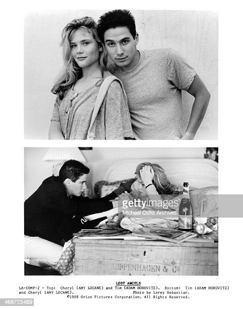 Actress Amy Locane and actor Adam Horovitz actor Adam Horovitz and actress Amy Locane on set of the Orion Pictures movie 'Lost Angels ' circa 1989