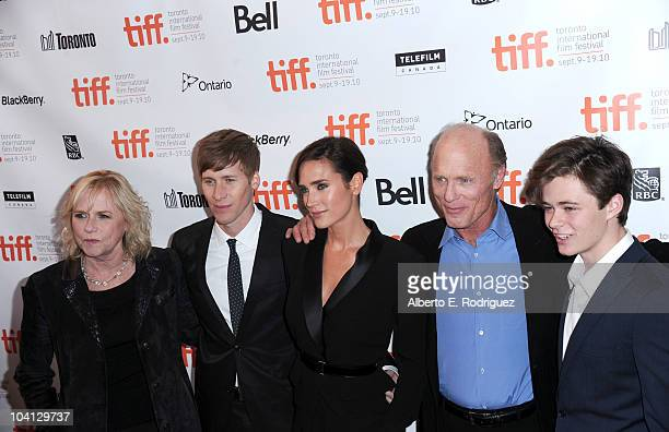 Actress Amy Madigan writer/director Dustin Lance Black actress Jennifer Connelly actor Ed Harris and actor Harrison Gilbertson attend 'What's Wrong...