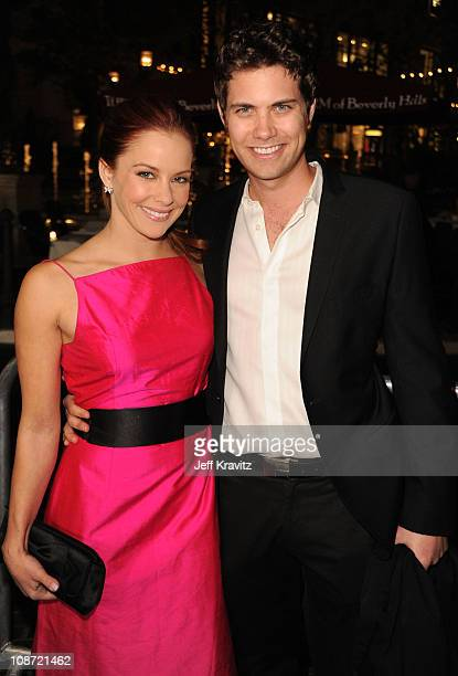 Actress Amy Paffrath and actor Andrew Seeley arrive at the Los Angeles premiere of 'Waiting for Forever' held at Pacific Theaters at the Grove on...