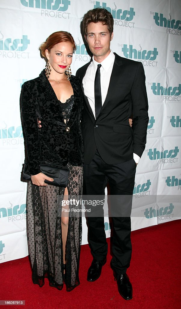Actress Amy Paffrath and actor Drew Seeley arrive at The Thirst Project Annual Masquerade Dinner on October 29, 2013 in Glendale, California.