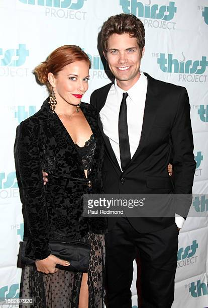 Actress Amy Paffrath and actor Drew Seeley arrive at The Thirst Project Annual Masquerade Dinner on October 29 2013 in Glendale California