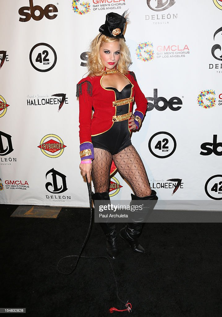 Actress Amy Paffrath attends Fred & Jason's annual Halloweenie charity event at The Lot on October 26, 2012 in West Hollywood, California.