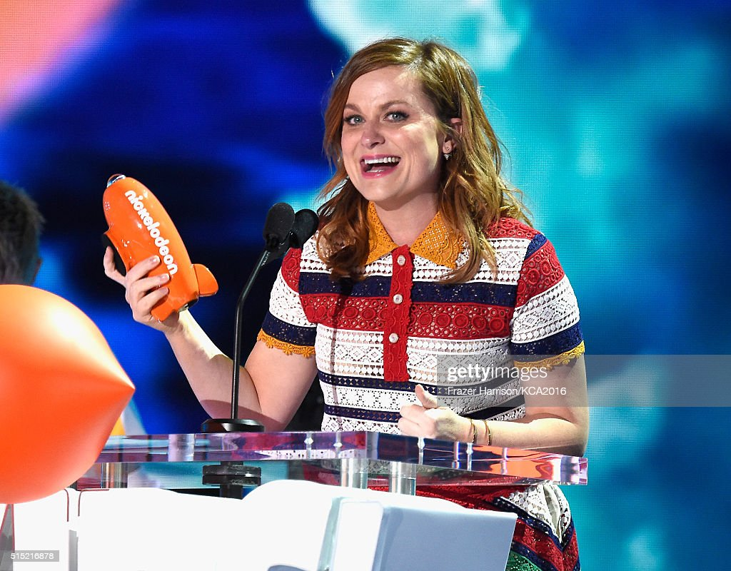 Actress Amy Poehler accepts the Favorite Animated Movie award for 'Inside Out,' onstage during Nickelodeon's 2016 Kids' Choice Awards at The Forum on March 12, 2016 in Inglewood, California.