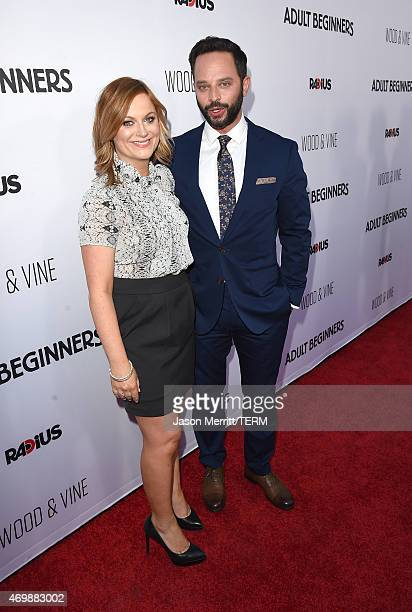 Actress Amy Poehler and actor Nick Kroll attend the premiere of 'Adult Beginners' at ArcLight Hollywood on April 15 2015 in Hollywood California