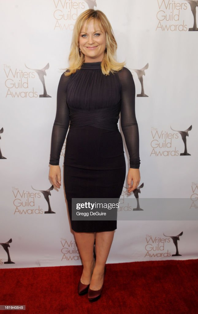 Actress Amy Poehler arrives at the 2013 Writers Guild Awards at JW Marriott Los Angeles at L.A. LIVE on February 17, 2013 in Los Angeles, California.