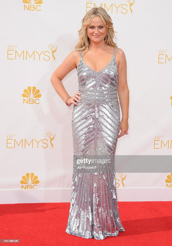 Actress Amy Poehler arrives at the 66th Annual Primetime Emmy Awards at Nokia Theatre LA Live on August 25 2014 in Los Angeles California