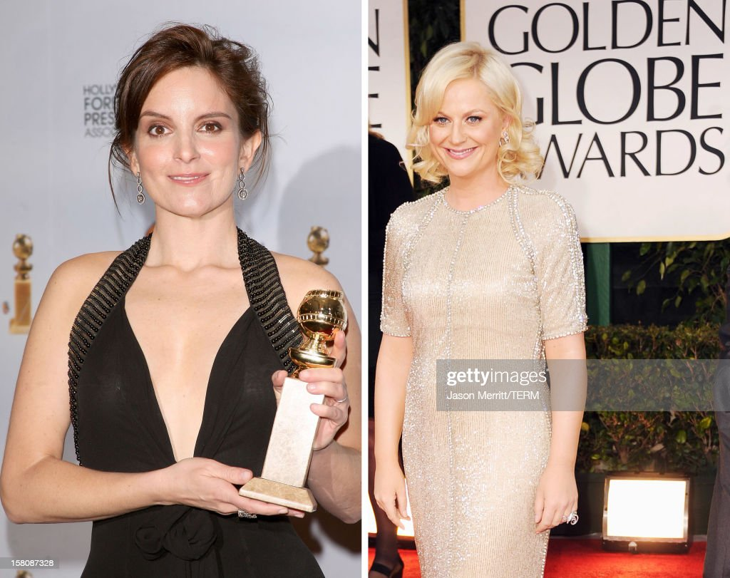 In this composite image a comparison has been made between actresses Tina Fey (L) and Amy Poehler. The former cast-mates of TV's 'Saturday Night Live' will co-host the 70th Annual Golden Globe Awards in January of 2013. BEVERLY HILLS, CA - JANUARY 15: Actress Amy Poehler arrives at the 69th Annual Golden Globe Awards held at the Beverly Hilton Hotel on January 15, 2012 in Beverly Hills, California.