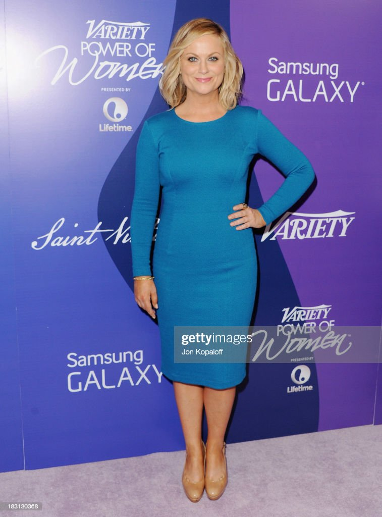 Actress <a gi-track='captionPersonalityLinkClicked' href=/galleries/search?phrase=Amy+Poehler&family=editorial&specificpeople=228430 ng-click='$event.stopPropagation()'>Amy Poehler</a> arrives at Variety's 5th Annual Power Of Women Event at the Beverly Wilshire Four Seasons Hotel on October 4, 2013 in Beverly Hills, California.