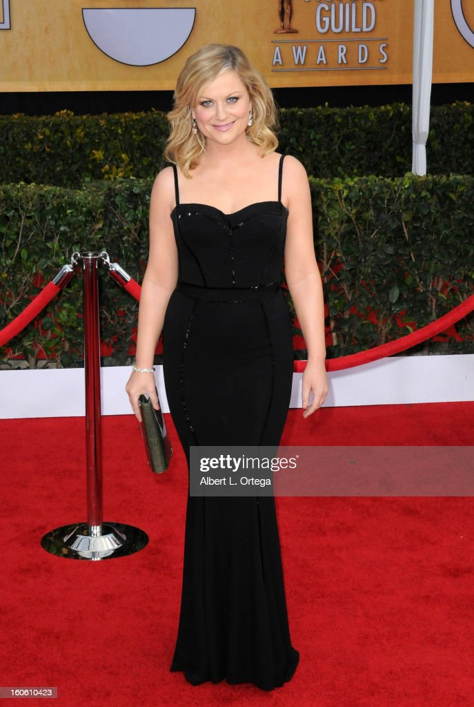 Actress <a gi-track='captionPersonalityLinkClicked' href=/galleries/search?phrase=Amy+Poehler&family=editorial&specificpeople=228430 ng-click='$event.stopPropagation()'>Amy Poehler</a> arrives for the 19th Annual Screen Actors Guild Awards - Arrivals held at The Shrine Auditorium on January 27, 2013 in Los Angeles, California.