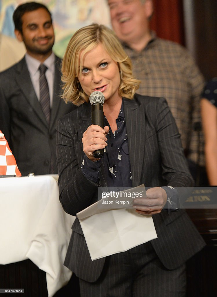 Actress <a gi-track='captionPersonalityLinkClicked' href=/galleries/search?phrase=Amy+Poehler&family=editorial&specificpeople=228430 ng-click='$event.stopPropagation()'>Amy Poehler</a> attends the NBC 'Parks And Recreation' 100th Episode Celebration at CBS Studios - Radford on October 16, 2013 in Studio City, California.