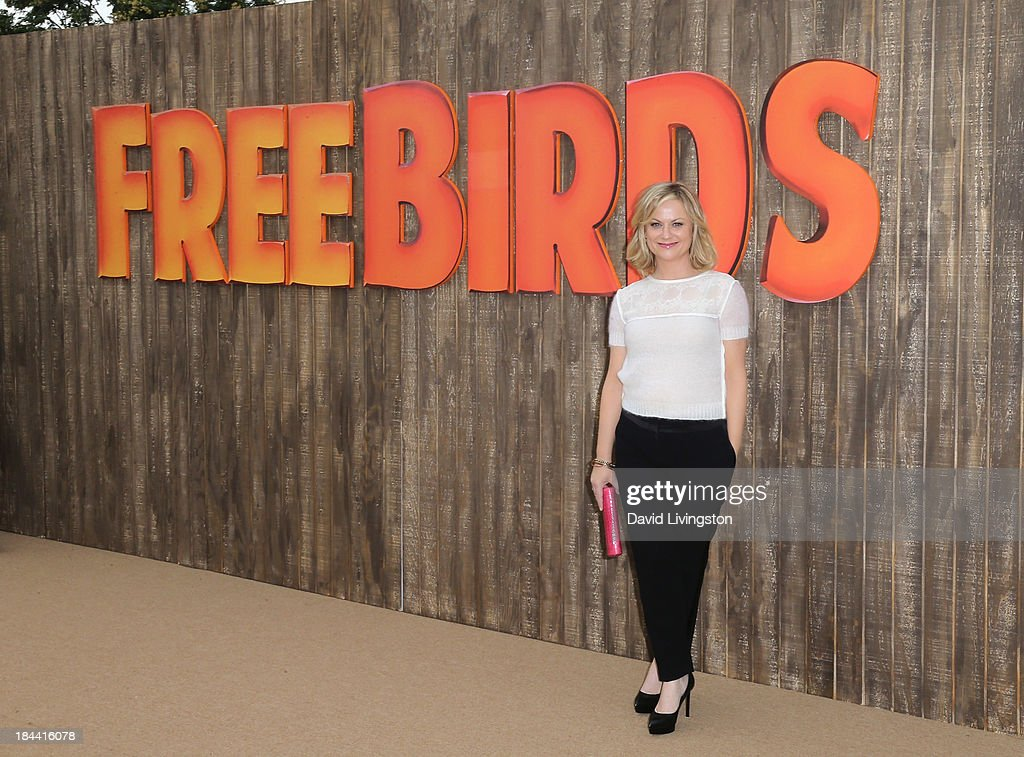 Actress <a gi-track='captionPersonalityLinkClicked' href=/galleries/search?phrase=Amy+Poehler&family=editorial&specificpeople=228430 ng-click='$event.stopPropagation()'>Amy Poehler</a> attends the premiere of Relativity Media's 'Free Birds' at the Westwood Village Theatre on October 13, 2013 in Westwood, California.